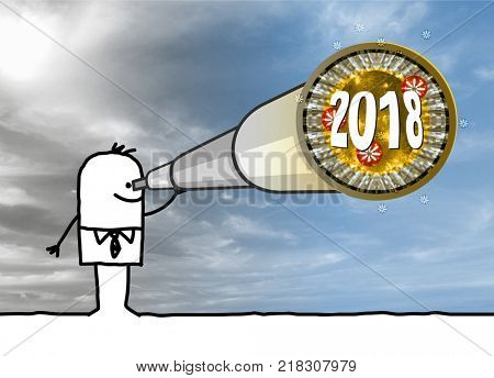 Cartoon Businessman with Telescope and 2018