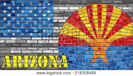 Arizona flag on the grey USA flag background - Illustration,  Ball with Arizona flag