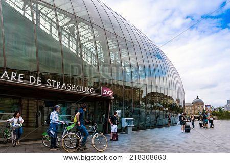 STRASBOURG, FRANCE - June 17, 2017 : Main train station in Strasbourg, France