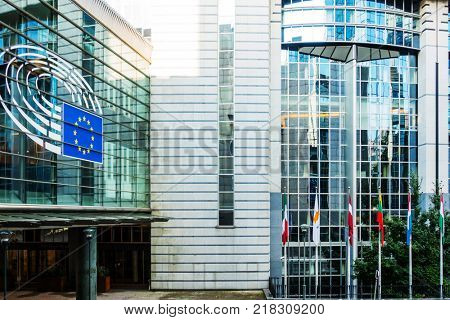 BRUSSELS, BELGIUM - August 5, 2017 : Exterior of the building of the European Parliament in Brussels, Belgium. it exercises the legislative function of the EU.August 5, 2017, BRUSSELS, BELGIUM