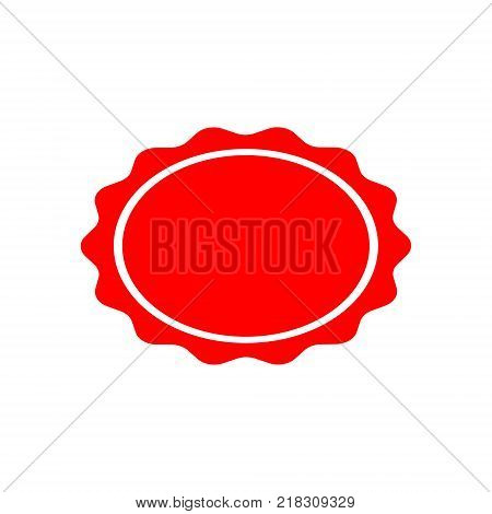 stamp of an oval-shaped seal of red color on a white background. Vector