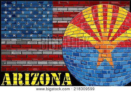 Arizona flag on the USA flag background - Illustration,  Ball with Arizona flag
