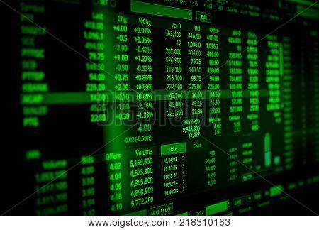 Bull or uptrend stock screen market data display