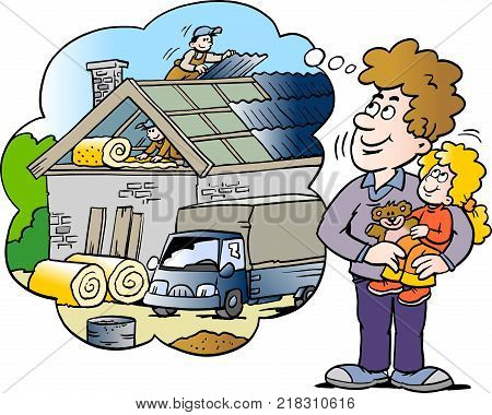 Cartoon Vector illustration of a family father looking at a new house