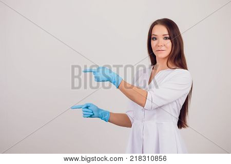 Beautiful female medicine doctor with smile face. Medical care, illness diagnosing, physical, physician consultation, insurance concept. Dermatologist or oncologist examination poster
