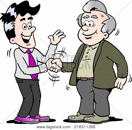 Cartoon Vector illustration of two men there has agreed a deal