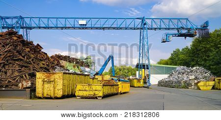 Scap metal yard in summer in Germany - Hessen