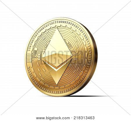 Golden Ether ETH cryptocurrency physical concept coin isolated on white background. 3D rendering