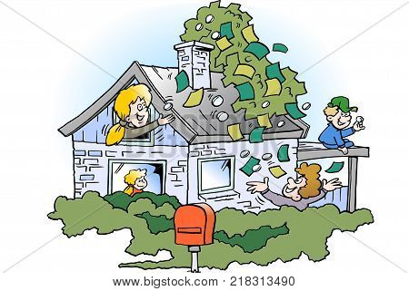 Cartoon Vector illustration of a happy family threre has borrowed money in the property's real estate value