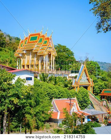 Buddha temple on the hill in Phuket, Thailand.