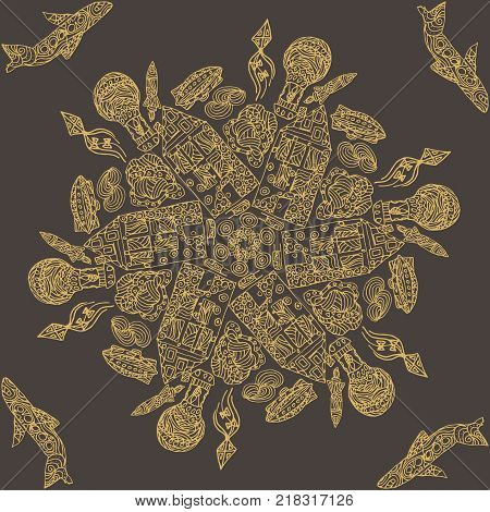 Ornamental round lace pattern, circle background with many details, looks like crocheting handmade lace, lacy arabesque designs. Orient traditional ornament, motif. city, house, airplane, airship poster