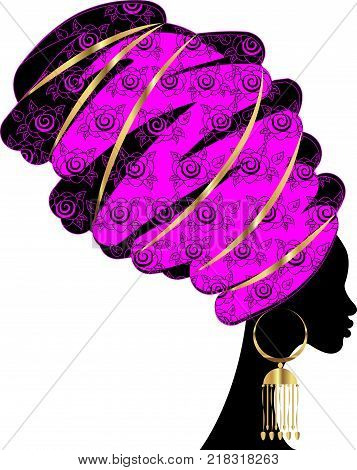 portrait beautiful African woman in traditional turban, Kente head wrap African, Traditional dashiki printing, black women vector silhouette isolated with traditional gold jewelry, ethnic background