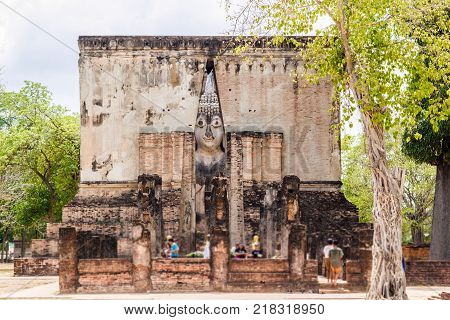 WAT SCRICHUM THAILAND-JULY 25,2015: Sukhothai is a historical center, and the first capital of Siam Thought to be the origin of Thai art and culture it has been listed as a UNESCO World Heritage City