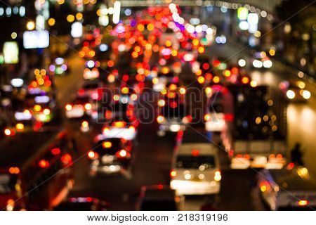 Blurred Bangkok rush hour,after work and  sunset  traffic jam on  City scape  in Bangkok Thailand