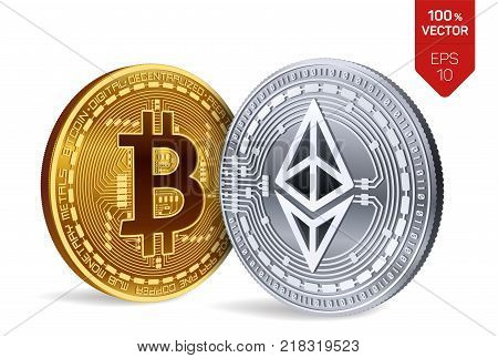 Bitcoin and Ethereum. 3D isometric Physical coins. Digital currency. Cryptocurrency. Golden and silver coins with bitcoin and ethereum symbol isolated on white background. Vector illustration