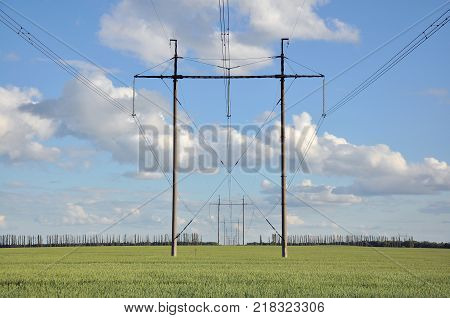 Electricity Telegraph Pole In Rural Green Field