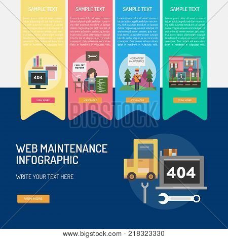 Web Maintenance Infographic | Set of great infographic flat design illustration concepts for maintenance, website, computer, technology and much more.