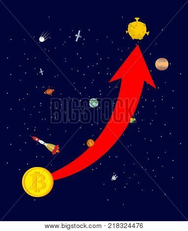 Bitcoin price increase. Dynamics of course is crypto currency. Rise of price of virtual money. Up arrow to sky. Cost Flies to moon. Exchange vector illustration
