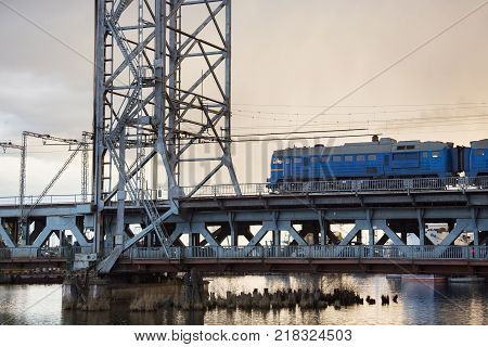 Double-deck drawbridge over the Pregolya River in Kaliningrad (Konigsberg) Russia. The bridge was built in the 1913-1926 during the Second World War was damaged and was reconstructed in 1959-1965.