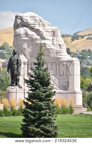 SALT LAKE CITY, UT - AUG 29: Mormon Battalion Monument at the Utah State Capitol in Salt Lake City, Utah, as seen on Aug 29, 2017.