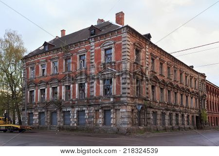 View of the old abandoned building in the center of Kaliningrad (former german town Konigsberg). At the end of World War II in 1945 the city became part of the Soviet Union. Now is russian exclave.