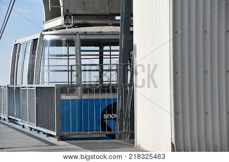 SANDY, UT - AUG 29: Aerial Tram at Snowbird Resort in Sandy, Utah, as seen on Aug 29, 2017. It whisks passengers along a 1.6 mile cable and up 2,900 vertical feet during the 10-minute trip to the top.