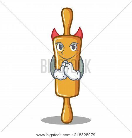 Devil rolling pin character cartoon vector illustration