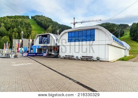 Krasnoyarsk Russia- August 10 2017: Chairlift station in Krasnoyarsk fun park Beaver Log. The complex is located in a picturesque area of the city of Krasnoyarsk near the river Bazaikha