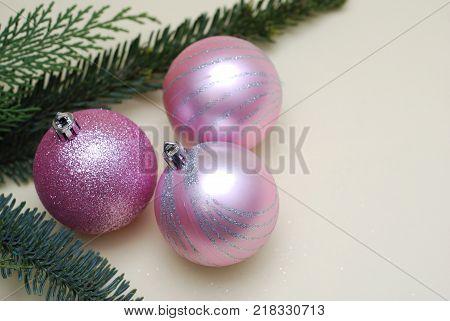 Pink Christmas Tree Glass Balls and and