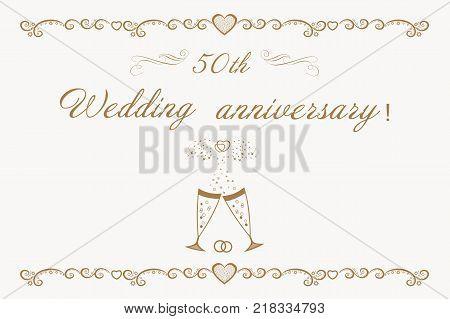 Beautiful anniversary Invitation golden wedding. 50th Wedding anniversary Invitation.Beautiful vector illustration