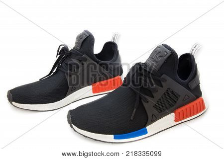 Bangkok, Thailand - August 11, 2017: Adidas Nmd Xr1 Og Shoes Isolated On White Background In Studio