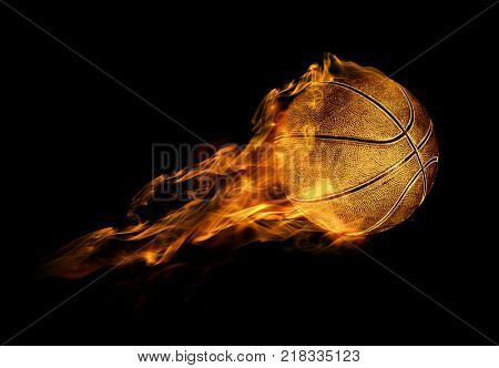 3D illustration of flying fiery basketball ball on black background