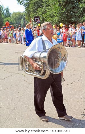 STARAJA RUSSA, RUSSIA - JULY 9: Unknown man at the parade on City Day Staraya Russa on July 9, 2011 in Staraja Russa, Russia.