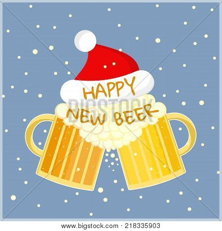 Flat cartoon colorful two beer glasses in christmas hat toast cheers symbol. Toasting foamy ale pints with Happy New Beer text. Nice color winter holidays card with beer