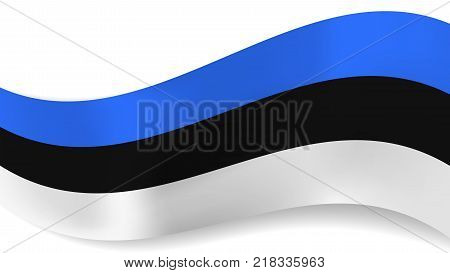 Abstract Vector Wavy Estonia Flag With Shadow On White Background Ribbon Blue Black And