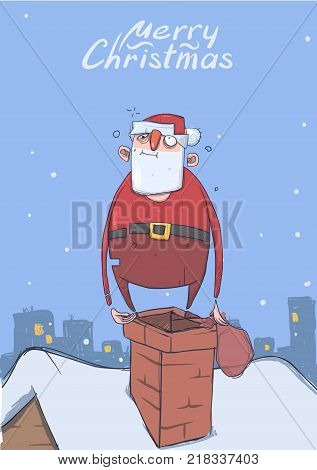 Christmas card of funny drunk Santa Claus with a bag on a chimney in snowy city. Happy Santa Claus got wasted. Vertical vector illustration. Cartoon character. Lettering. Copy space.