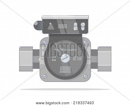 Circulation pump. Bright linear style. Illustrations for the online store of plumbing. Isolated on white background. Realistic cartoon.