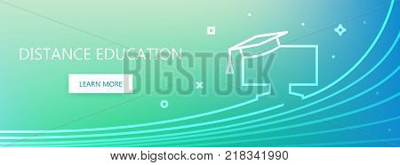 Blue and green colored vector banner with distance education words and mortarboard on monitor in linear style.