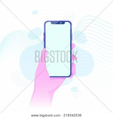 Vector illustration of hand holding hi-tech contemporary smartphone in bright flat style. Material design color.
