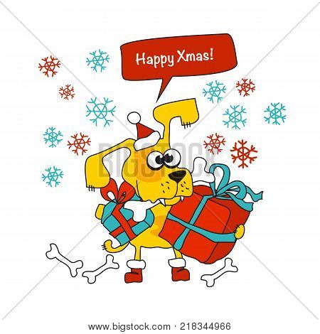 Cool yellow dog mascot cartoon. Funny winter xmas animal in Santa hat with gift box. Christmas and Chinese New year Vector illustration