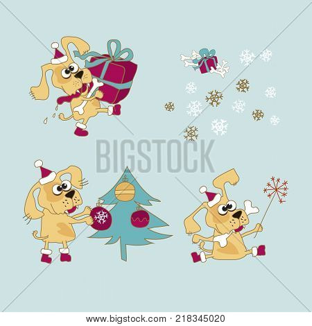 Cool yellow dog mascot. Cartoon set. Funny winter xmas animal in Santa hat with gift box. Christmas and Chinese New year Vector illustration