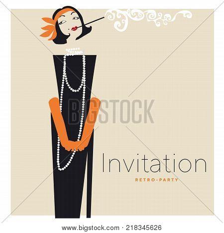 Smoking woman silhouette vector illustration. Retro elegant woman portrait in black dress.