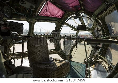 Inside of an airplane designed for aerial cartography reconnaissance and transport. Old technology aircraft.