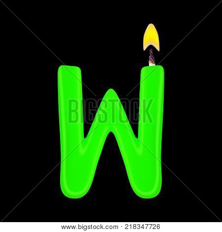 Realistic candle letter W isolated on black background. 3d. Stock - Vector illustration
