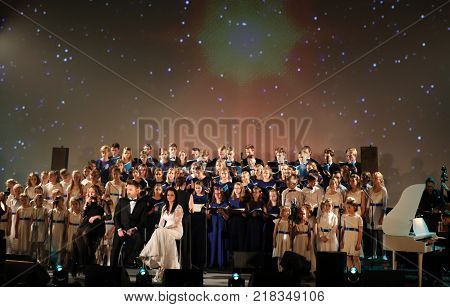 Cracow Poland - December 8 2017: The premiere of the Multimedia Christmas Oratory - to Bethlehem performed by the Filharmonia Futura and Choir Fermata. Cracow. Poland
