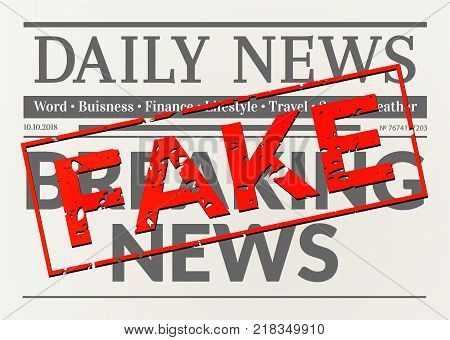 Busted daily breaking news. Newspaper with fake red stamp