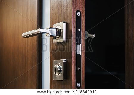 door handle and latch of brass on veneer doors