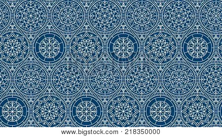 Dark blue repeatable motif for holiday wrapping paper, fabric, backdrop. Abstract winter vector background. Xmas and New Year elegant luxury style seamless pattern.