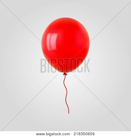 Red flying helium balloon. For decoration party, birthday, new year and celebrations. Realistic style isolated on white background. 3d. Stock - Vector illustration for your design and business