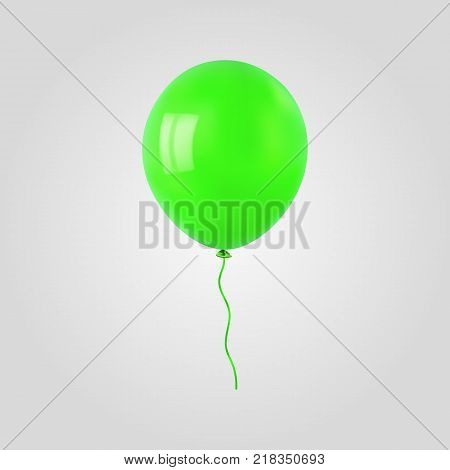 Green flying helium balloon. For decoration party, birthday, new year and celebrations. Realistic style isolated on white background. 3d. Stock - Vector illustration for your design and business